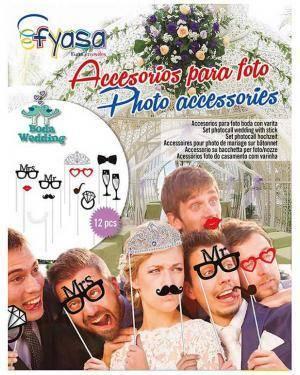 Acessorios Photo Booth Casamento 12 Unid. Disfarces A Casa do Carnaval.pt