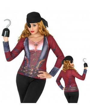 Camisola Estampada Pirata Mulher para Carnaval