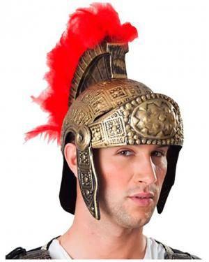 Capacete de Guerreiro Romano com Penas Vermelhas Disfarces A Casa do Carnaval.pt