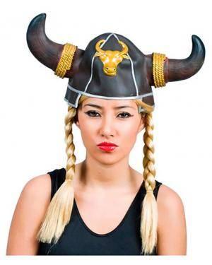 Capacete Viking com Tranças Disfarces A Casa do Carnaval.pt