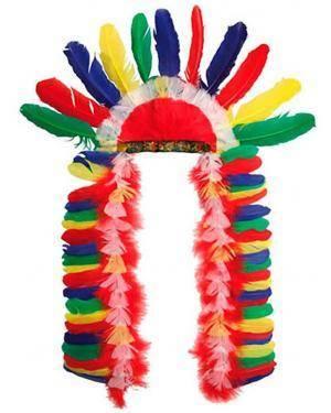 Chapéu Penas Chefe Indio, Loja de Fatos Carnaval, Disfarces, Artigos para Festas, Acessórios de Carnaval, Mascaras, Perucas, Chapeus 395 acasadocarnaval.pt
