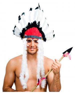 Chapéu Penas Indio 14 Penas, Loja de Fatos Carnaval, Disfarces, Artigos para Festas, Acessórios de Carnaval, Mascaras, Perucas 203 acasadocarnaval.pt