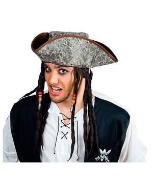 Chapéu Pirata com Rastas, Loja de Fatos Carnaval, Disfarces, Artigos para Festas, Acessórios de Carnaval, Mascaras, Perucas, Chapeus 546 acasadocarnaval.pt
