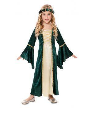 Disfarce de Dama Medieval Infantil para Carnaval