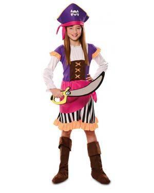 Disfarce de Pirata Aventureira Infantil para Carnaval
