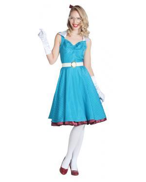 Disfarce de Vestido Azul com Bolinhas Pin Up para Carnaval