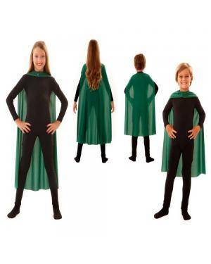 Capa Infantil Verde 70Cm para Carnaval ou Halloween