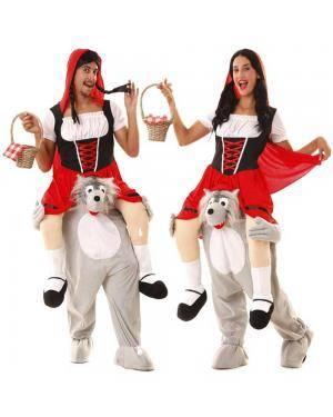 Fato Capuchinho Vermelho às Costas do Lobo Ilusão para Carnaval ou Halloween