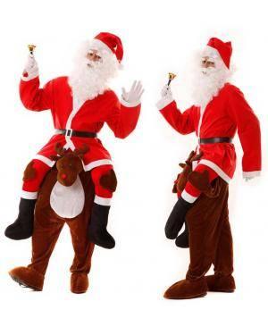 Fato Papai Noel às Costas do Rena Ilusão M/L para Carnaval ou Halloween