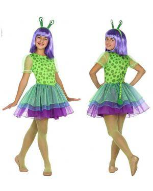 Fato Alien Verde Menina de 7-9 anos Disfarces A Casa do Carnaval.pt