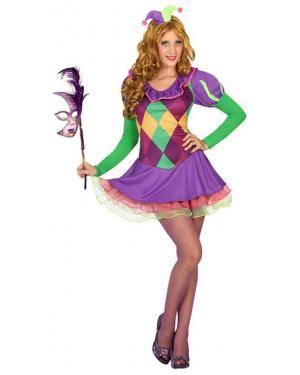 Fato Arlequim Mulher Adulto M/L Disfarces A Casa do Carnaval.pt