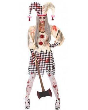 Fato Arlequim Sangrento Mulher para Carnaval