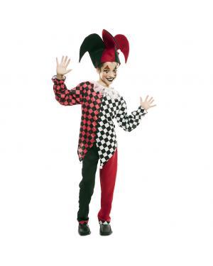 Fato Arlequim Vermelho Criança para Carnaval