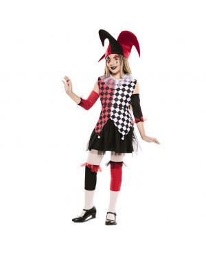 Fato Arlequim Vermelho Menina para Carnaval