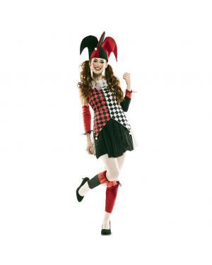 Fato Arlequim Vermelho Mulher para Carnaval