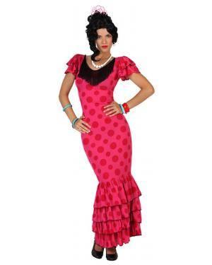 Fato Bailarina Flamenco Espanhola Rosa Adulto Disfarces A Casa do Carnaval.pt