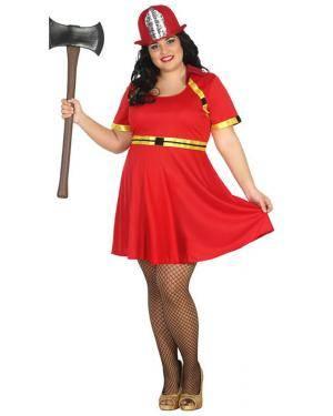 Fato Bombeira Vermelha Mulher Adulto XXL Disfarces A Casa do Carnaval.pt