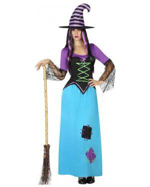 Fato Bruxa Azul Mulher Adulto M/L Disfarces A Casa do Carnaval.pt
