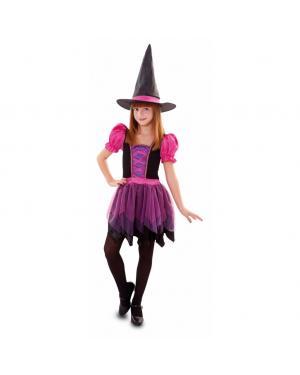 Fato Bruxa Lila Menina para Carnaval
