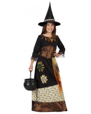 Fato Bruxa Patches Menina para Carnaval