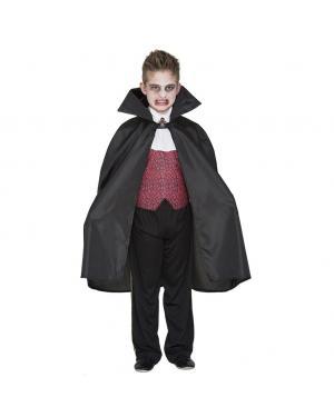 Fato Capa Dracula Negra crianças para Carnaval