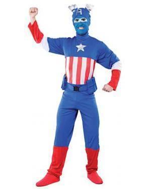 Fato Capitão América Azul Adulto Disfarces A Casa do Carnaval.pt