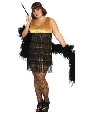 Fato Charleston Dourado Mulher Adulto XXL, Loja Fatos Carnaval, Disfarces, Artigos para Festas, Acessórios de Carnaval, Mascaras, Perucas 877 acasadocarnaval.pt