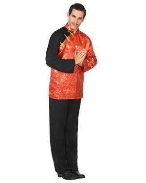 Fato Chinês Vermelho Adulto M/L Disfarces A Casa do Carnaval.pt