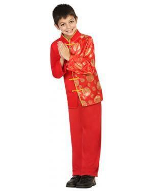 Fato Chinês Vermelho Menino de 7-9 anos Disfarces A Casa do Carnaval.pt