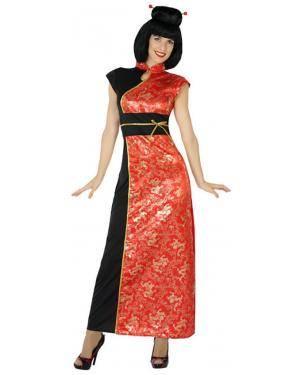 Fato Chinesa Preta/Vermelha Adulto XS/S Disfarces A Casa do Carnaval.pt