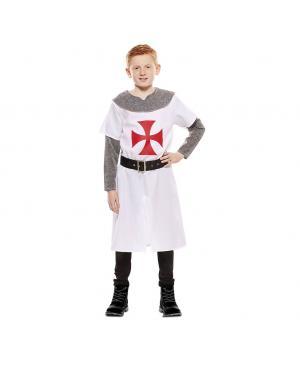 Fato Cruzado Medieval Branco Criança para Carnaval