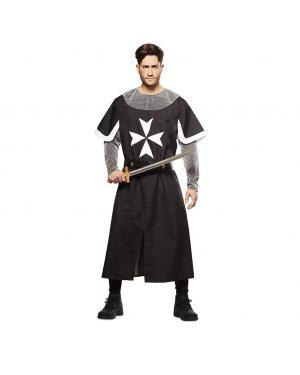 Fato Cruzado Medieval Preto para Carnaval