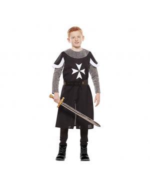 Fato Cruzado Medieval Preto Criança para Carnaval
