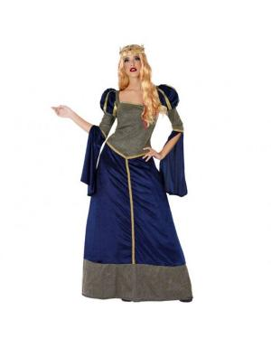 Fato Dama Medieval Azul Adulta para Carnaval