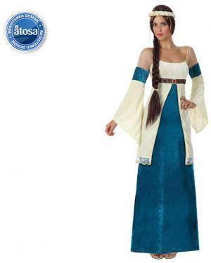 Fato Dama Medieval Azul Adulto Disfarces A Casa do Carnaval.pt