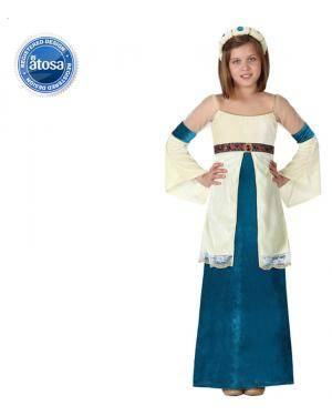 Fato Dama Medieval Azul Menina Disfarces A Casa do Carnaval.pt