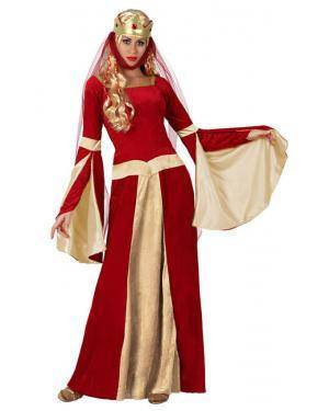 Fato Dama Medieval Vermelha Adulto Disfarces A Casa do Carnaval.pt