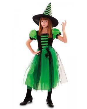 Fato de Bruxa Verde Com Aranha Menina Disfarces A Casa do Carnaval.pt