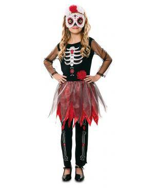Fato de Catrina Esqueleto Infantil para Carnaval