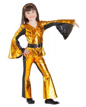 Fato de Disco Dourado Menina para Carnaval