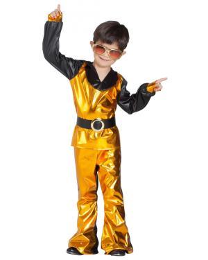 Fato de Disco Dourado Menino para Carnaval
