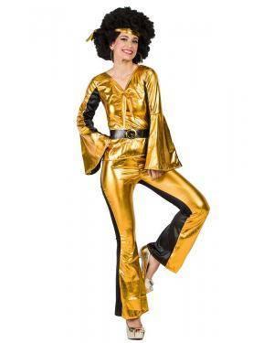 Fato de Disco Dourado Mulher Tamanho M/L