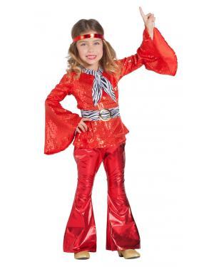 Fato de Disco Vermelho Menina para Carnaval