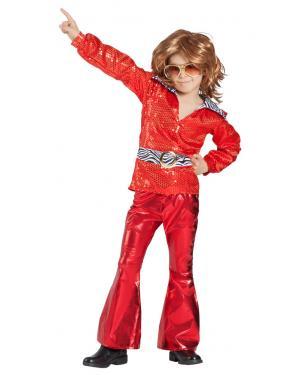 Fato de Disco Vermelho Menino para Carnaval