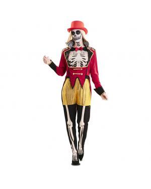Fato de Domadora Esqueleto Mulher para Carnaval