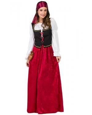 Fato de Dona de Estalagem Medieval Veludo Adulto