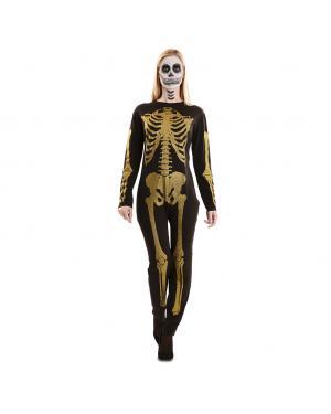 Fato de Esqueleto Glitter Dourado para Carnaval