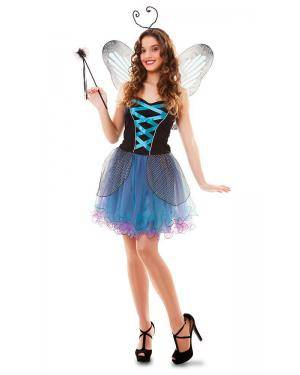 Fato de Fada Borboleta Azul Adulto Disfarces A Casa do Carnaval.pt
