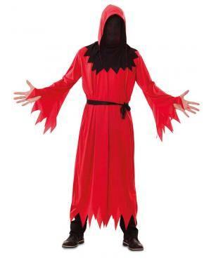 Fato de Morte Vermelho Adulto para Carnaval