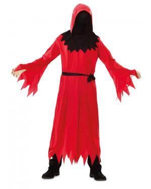 Fato de Morte Vermelho Infantil para Carnaval